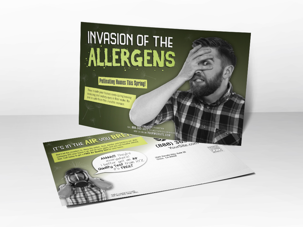 'Invasion of the Allergens' Horror Movie Inspired Spring HVAC Postcard - Front & Back