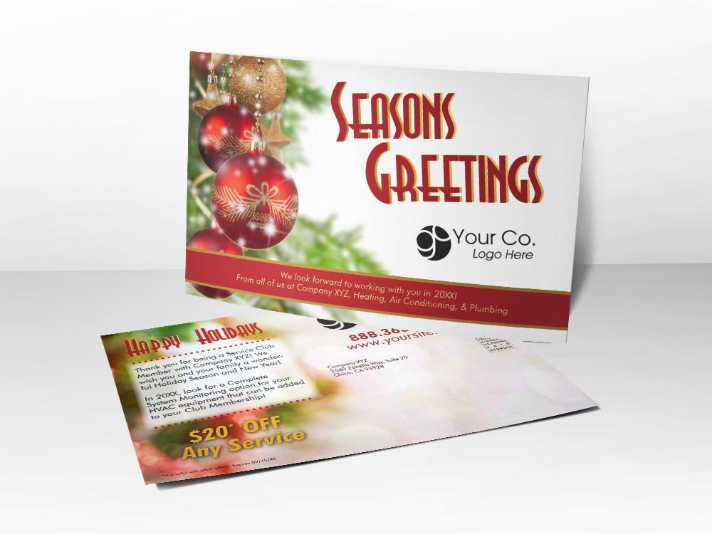 'Seasons Greetings' Christmas Tree Postcard - Front & Back