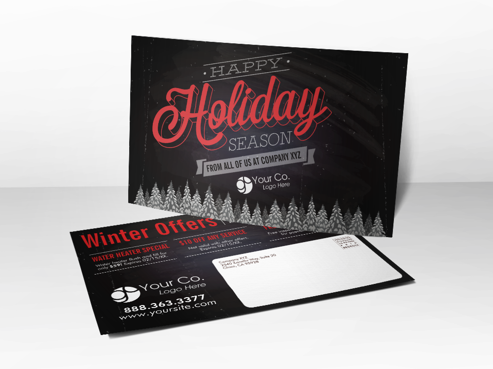 'Holiday' Black & Red Christmas Postcard - Front & Back