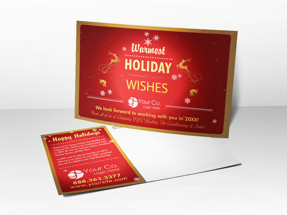 'Holiday Wishes' Red Winter Postcard - Front & Back