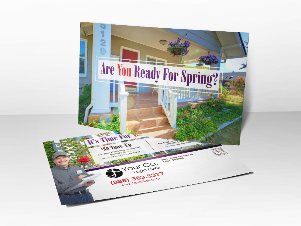 'Are You Ready For Spring' Charming House with flowers postcard - Front & Back