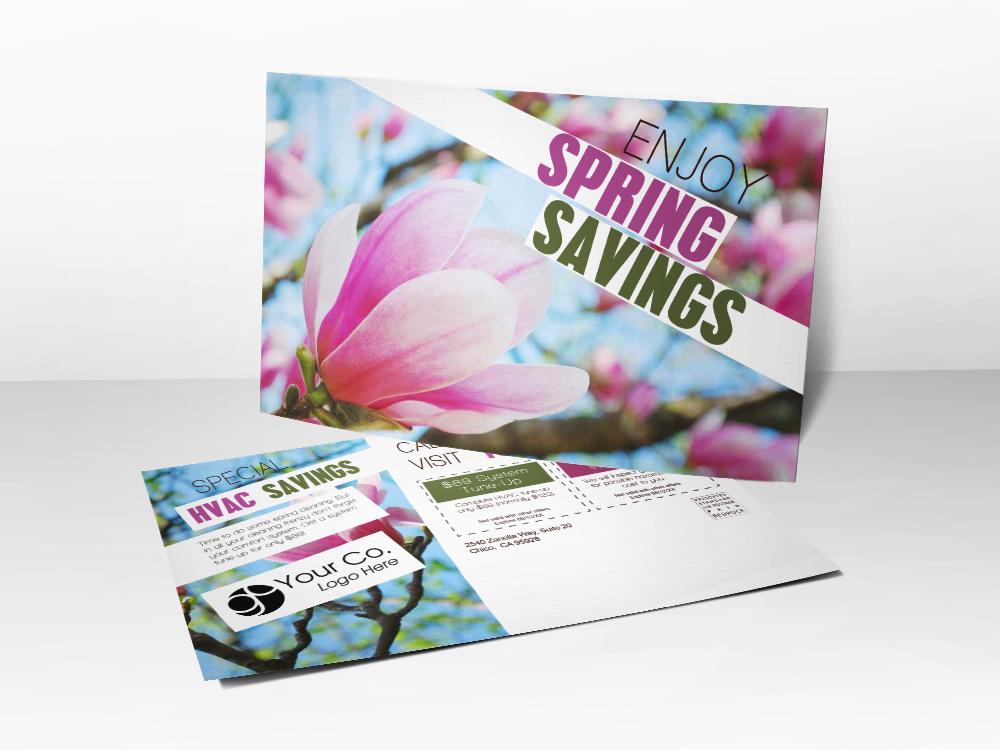 'Spring Savings' Pink Flower Postcard - Front & Back