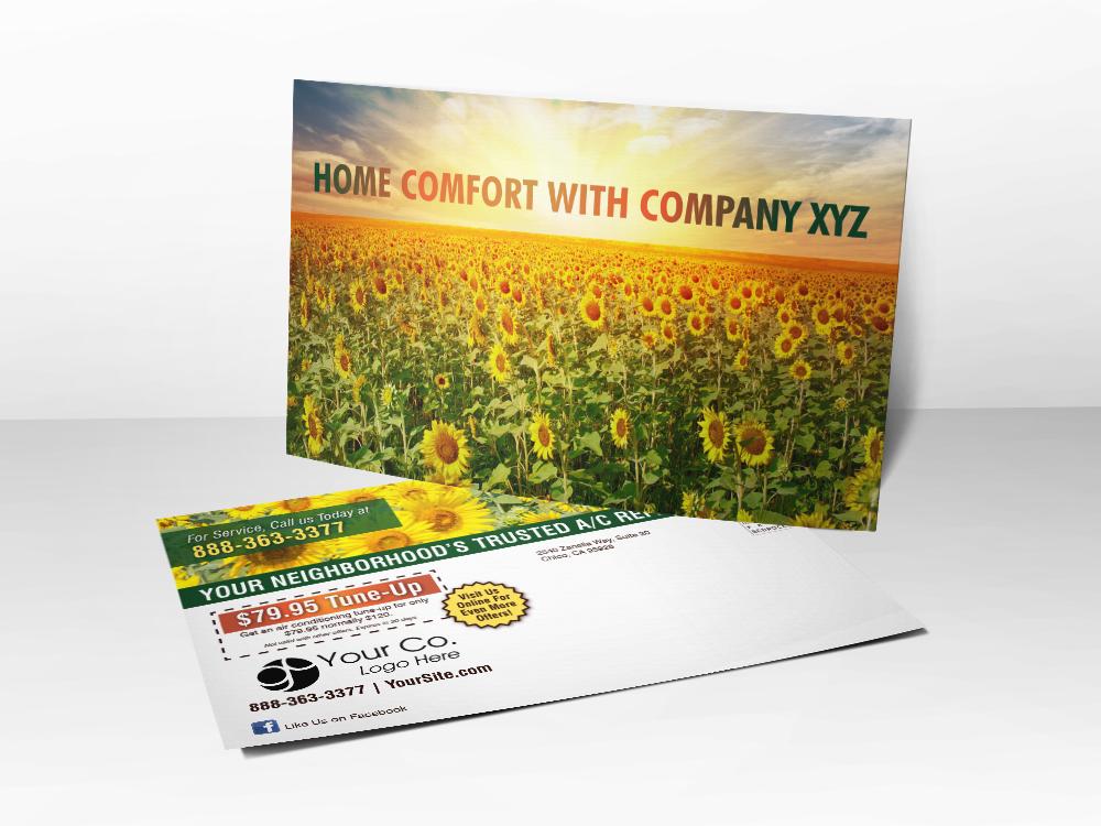 'Home Comfort' Summer Sunflower Field Postcard - Front & Back