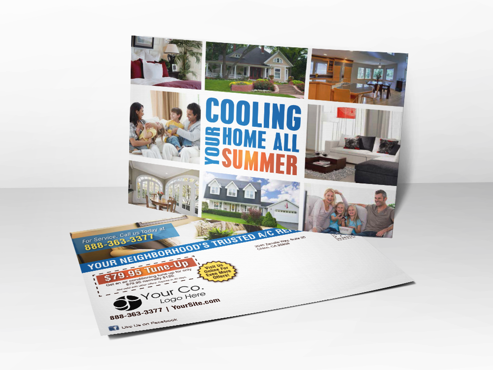 'Cooling Your Home All Summer' Home HVAC Postcard - Front & Back