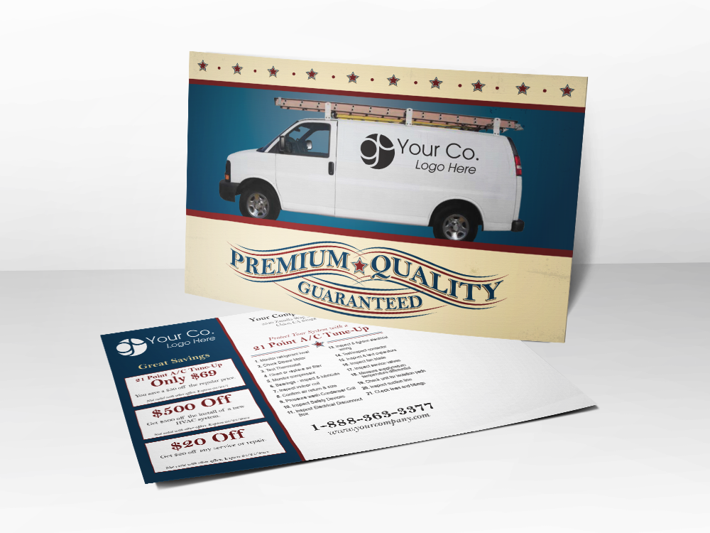 'Premium Quality' Service Van HVAC Postcard - Front & Back