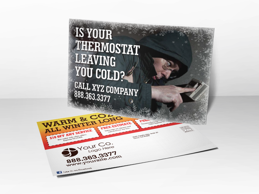 'Is Your Thermostat Leaving You Cold?' Freezing Man Postcard - Front & Back