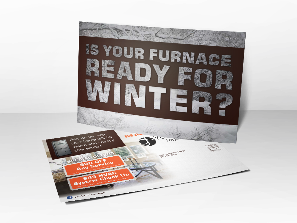 'Are You Ready For Winter' Snow HVAC Postcard - Front & Back