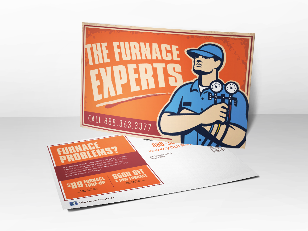 'The Furnace Experts' HVAC Technician Postcard - Front & Back