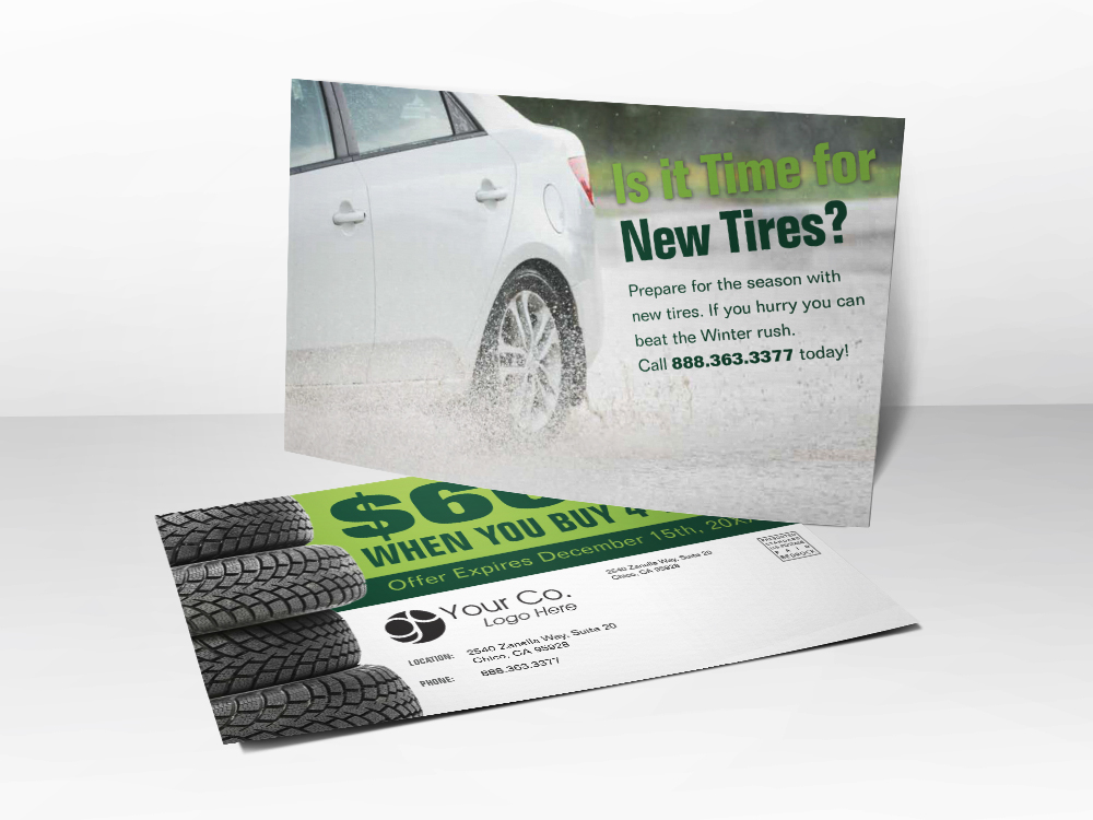 'Time For New Tires' Automotive Postcard - Front & Back