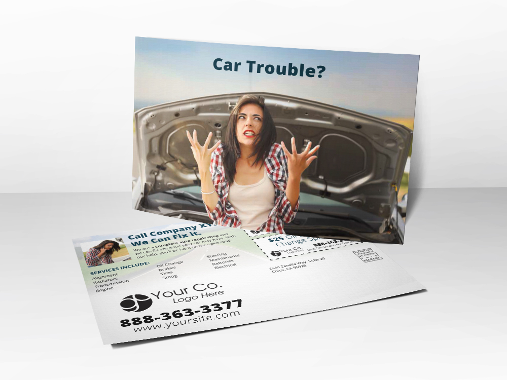 'Car Trouble' Upset Women with Stalled Car Postcard - Front & Back