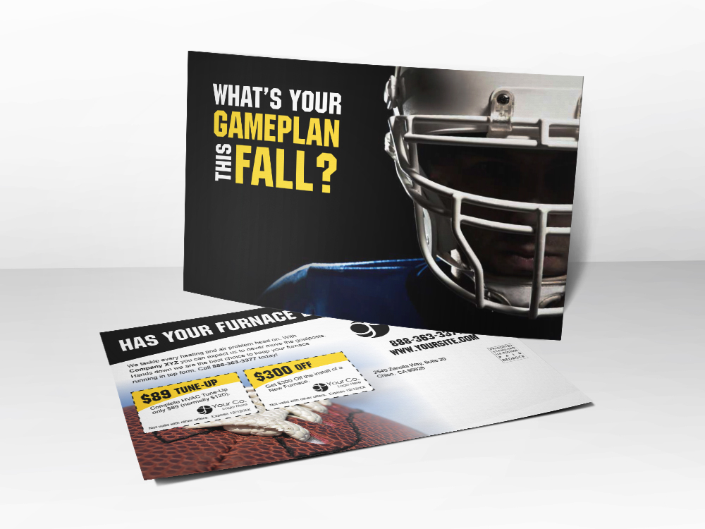 'What's Your Game Plan?' Football HVAC Postcard - Front & Back