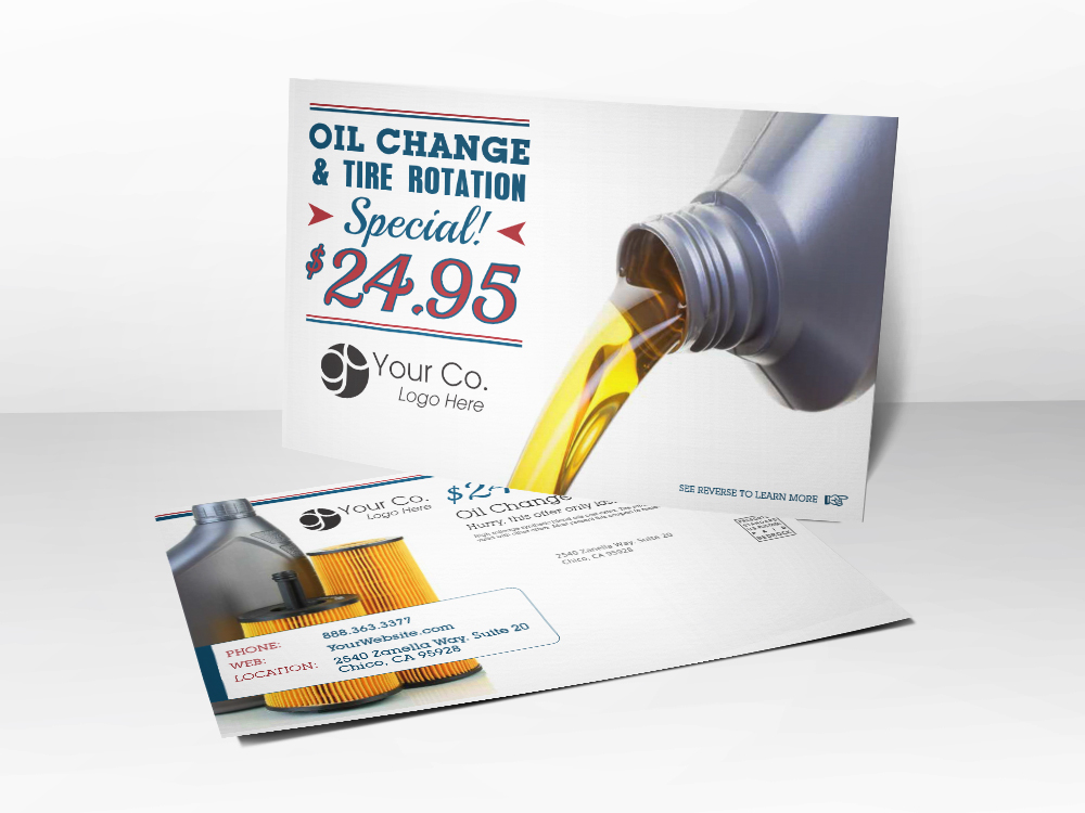 'Oil Change Special' Auto Postcard - Front & Back