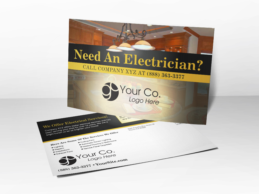 'Need An Electrician' Electrical Services Postcard - Front & Back