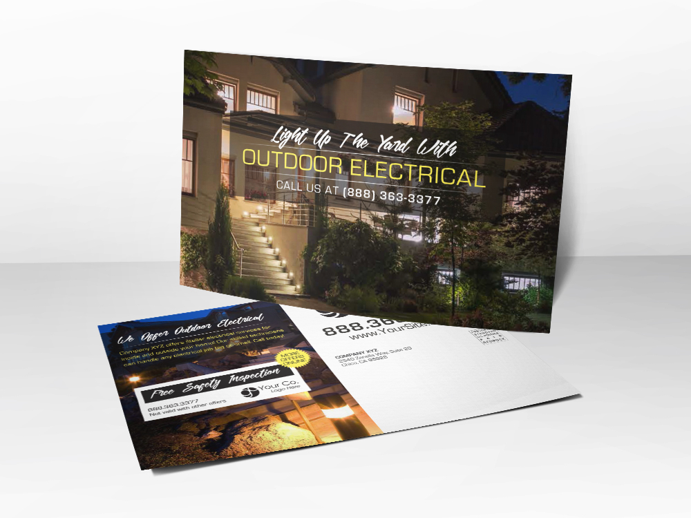 'Outdoor Electrical' Electrician Postcard - Front & Back