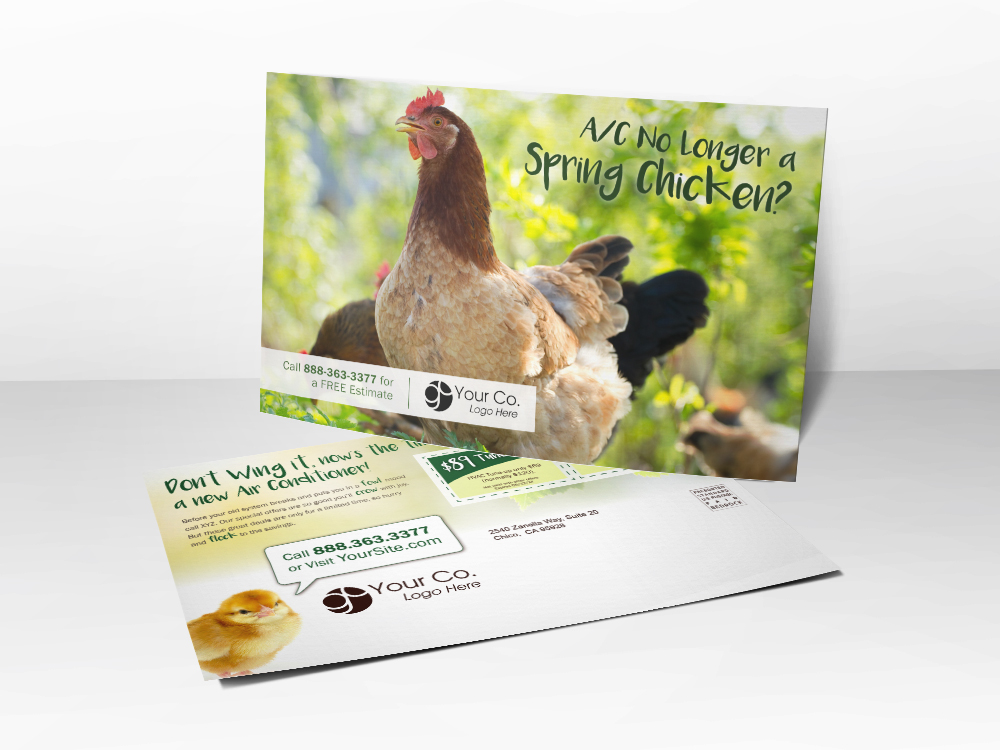 'Spring Chicken' Spring HVAC Postcard with Chickens - Front & Back