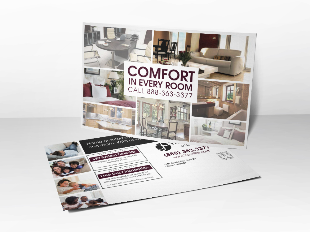 'Comfort For Your Form' Living Room Postcard - Front & Back