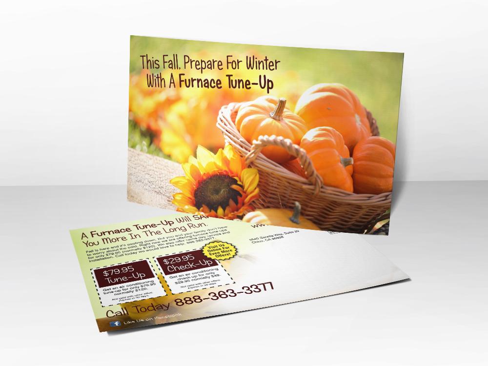 'Ready for WInter?..' Pumpkin HVAC Postcard - Front & Back