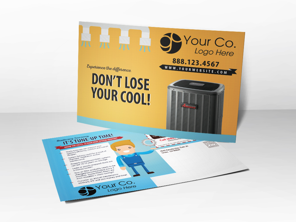 'Don't Lose Your Cool' Yellow HVAC Postcard - Front & Back