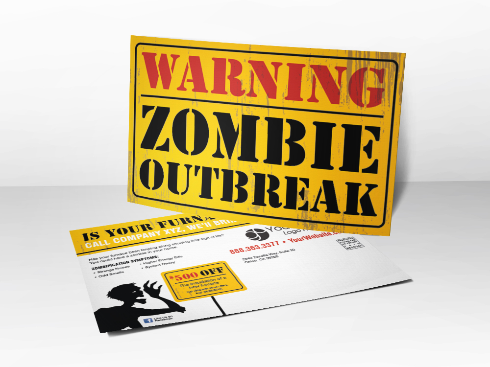 'Zombie Outbreak' Yellow Warning HVAC Postcard - Front & Back