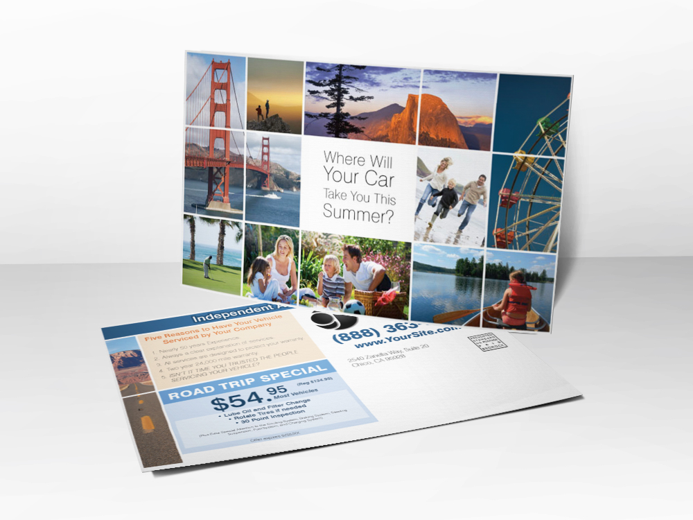 An automotive repair marketing postcard with pictures of different vacation spots on the front and a coupon for auto repair on the back.
