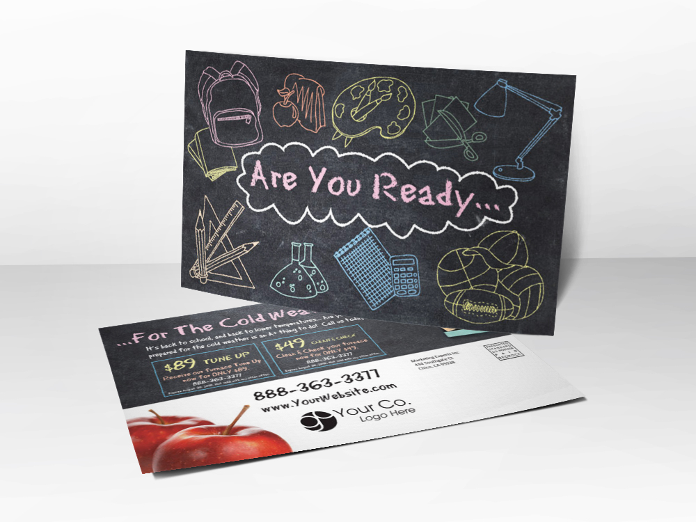 An HVAC marketing Fall postcard with a picture of drawings on a chalkboard on the front and furnace tune-up coupons on the back.