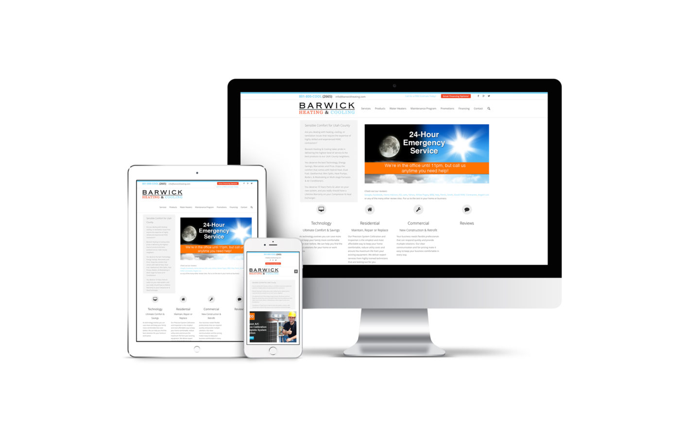 A custom designed website for an HVAC company displayed on multiple screens.