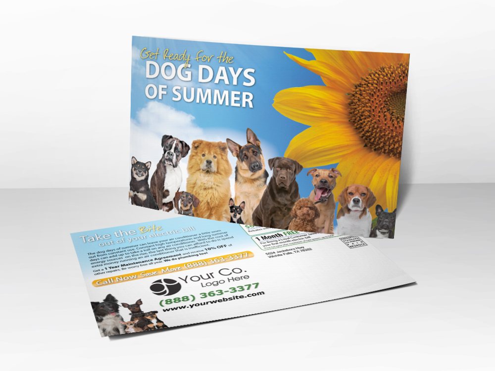 "An HVAC marketing postcard with a picture of dogs and a sunflower on the front with the line ""Get Ready for the Dog Days of Summer."""