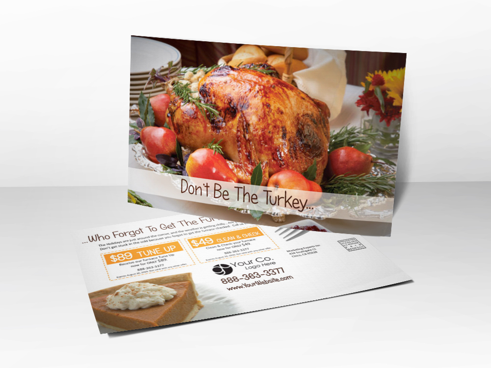 An HVAC marketing postcard with a picture of a Thanksgiving turkey on the front, pumpkin pie on the back, and furnace tune-up coupons on the back.