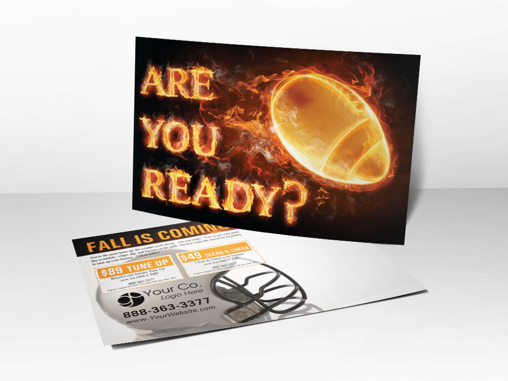 An HVAC marketing Fall postcard with a flaming football picture and a football helmet picture representing that Fall is coming and your furnace needs a tune-up or replacement.
