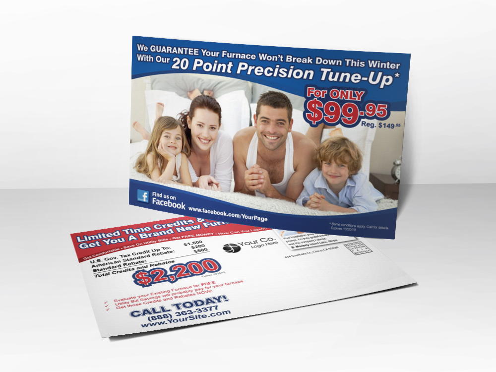 An HVAC marketing postcard with a picture of a smiling family of four on the front and information about tax rebates on the back.