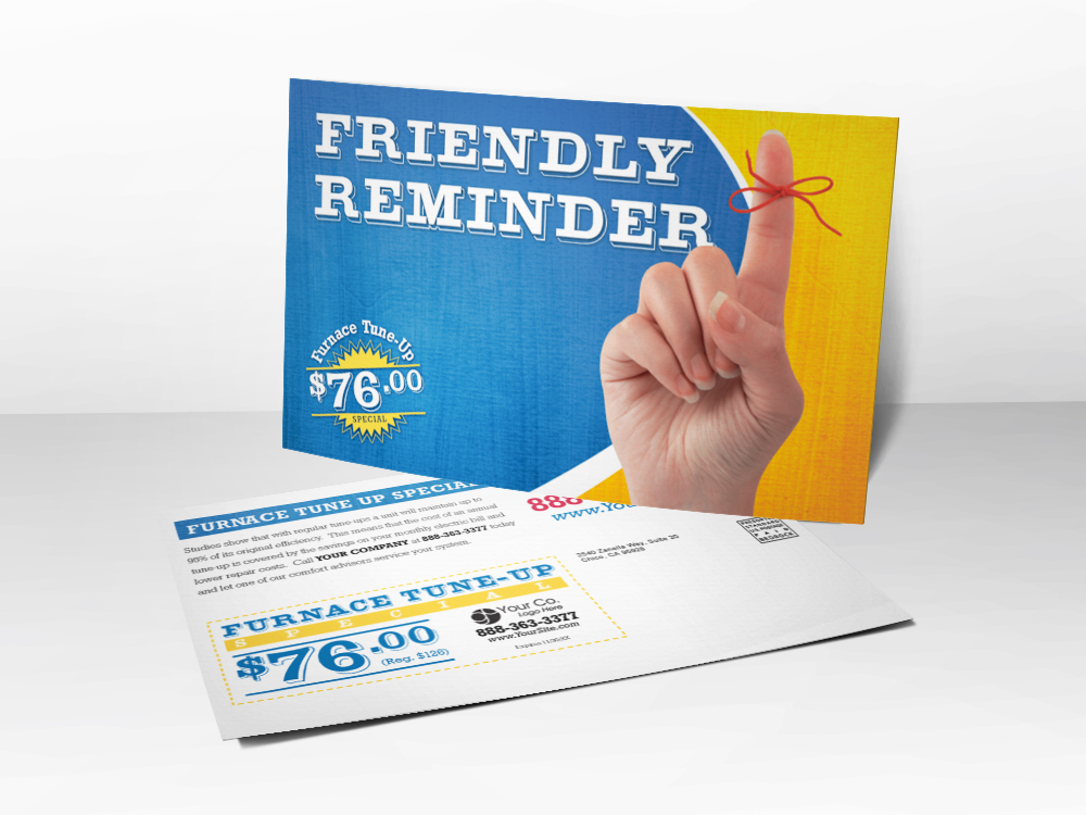 An HVAC marketing postcard with a friendly reminder theme including a picture of a string tied around a finger and furnace tune-up coupon.
