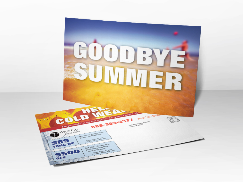 An HVAC marketing postcard with Goodbye Summer and a picture of leaves representing fall is coming; also has furnace tune-up and installation coupons.