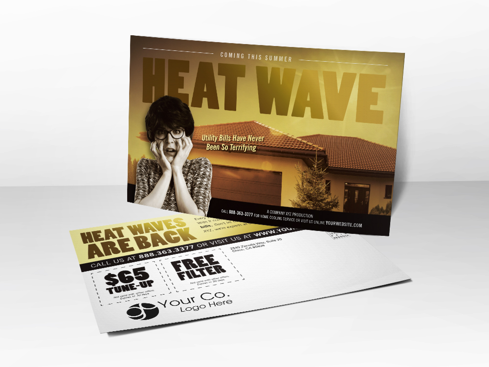 An HVAC marketing postcard with a horror theme including a picture of a frightened lady worried about the coming Summer heat wave.