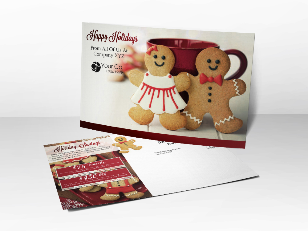 An HVAC marketing postcard with a Christmas theme with pictures of gingerbread, hot chocolate, and furnace tune-up and furnace installation coupons.