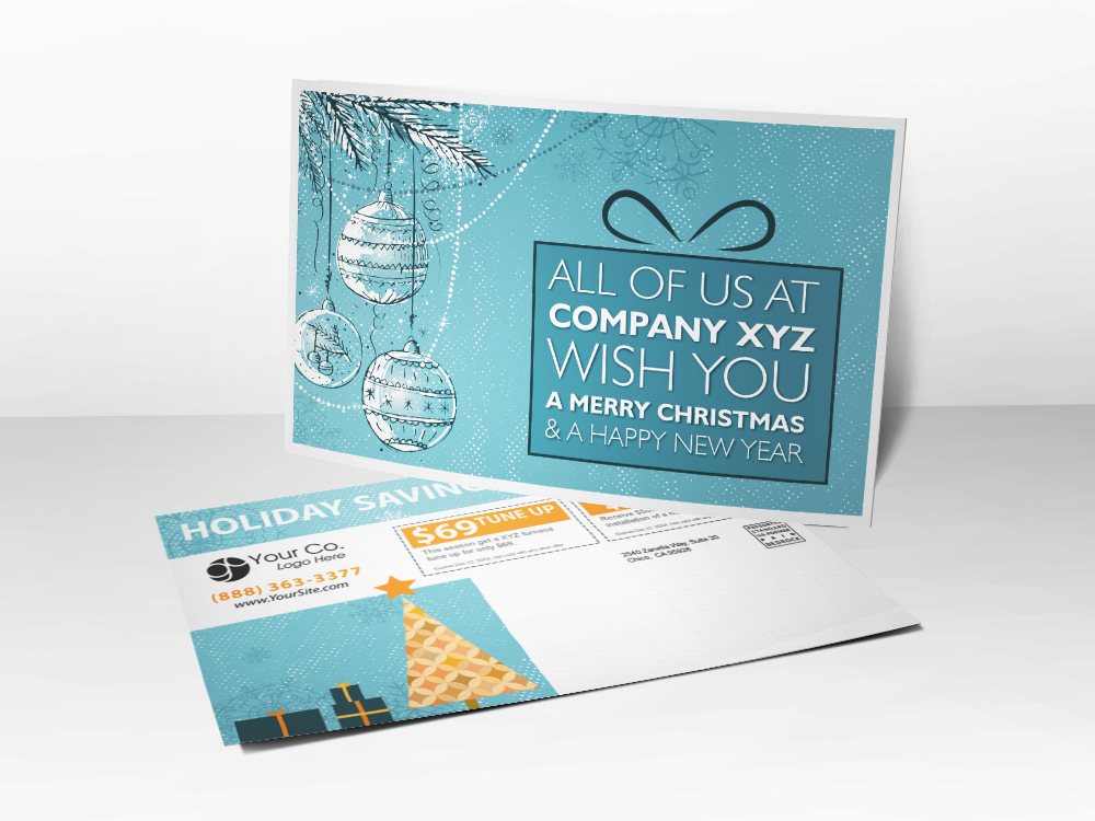 An HVAC marketing postcard with a Holiday and Christmas theme.