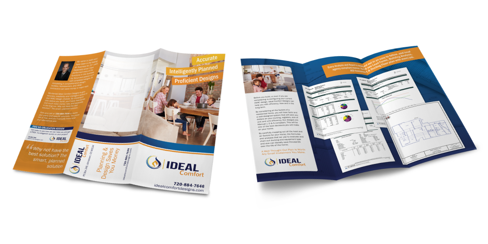 A marketing brochure custom designed for an HVAC and design company with pictures of families and articles about saving money.