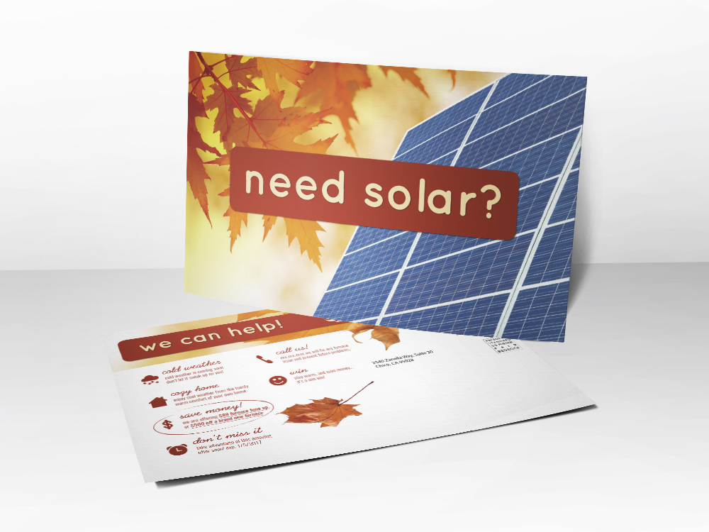 A Solar installation marketing postcard with a picture of leaves and solar panels on the front.