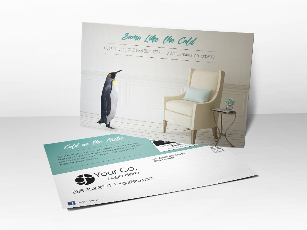 An HVAC marketing postcard for Summer tune-up advertising with a picture of a penguin in a living room on the front.