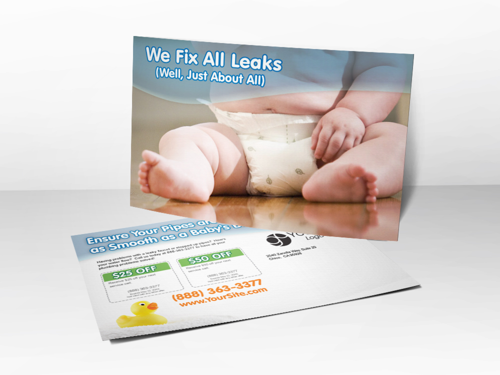 "A plumbing marketing postcard with a picture of a baby in a diaper on the front and the line ""we fix all leaks"" above the picture."