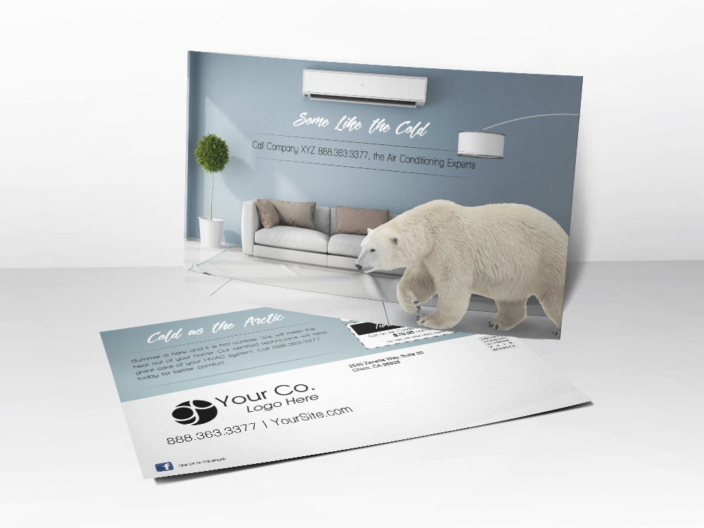 An HVAC marketing postcard for summer tune-up advertising with a picture of a polar bear walking through a living room.