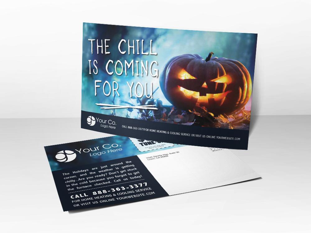 'Chill' Halloween Pumpkin Postcard - Front & Back