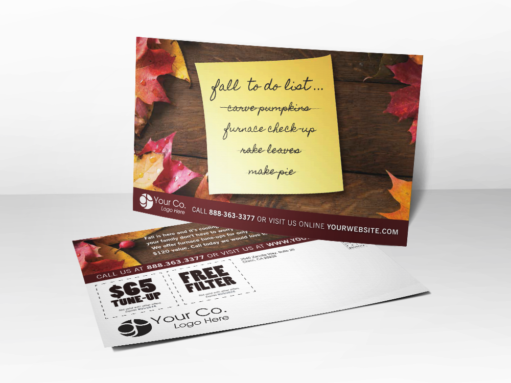 'To Do List' Fall HVAC Postcard - Front & Back