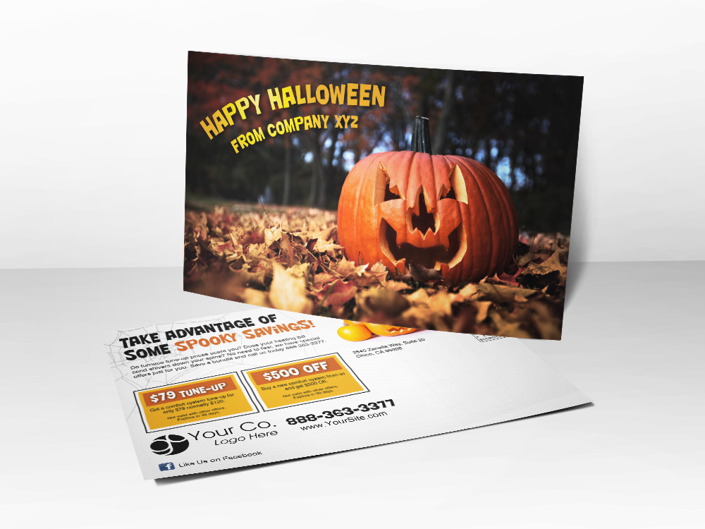 'Happy Halloween' HVAC Postcard
