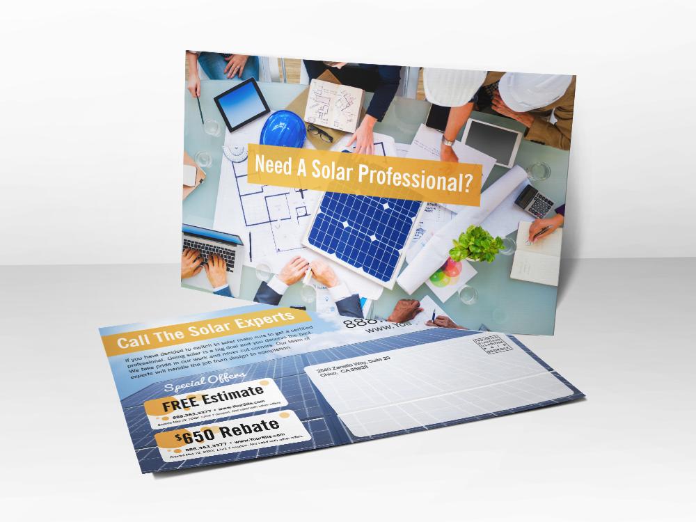 """Need A Solar Professional?' Solar Postcard"