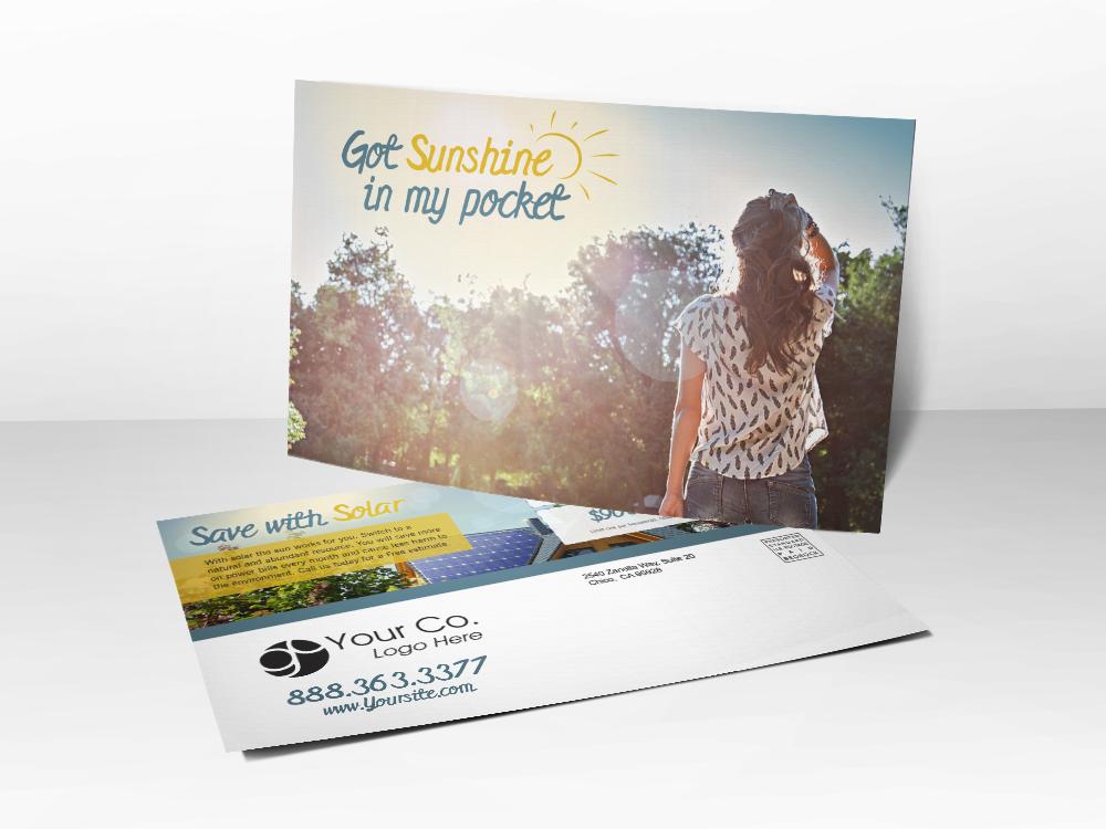 'Sunshine In My Pocket' Solar Postcard - Front & Back