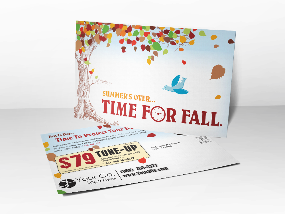 'Time For Fall' HVAC Postcard