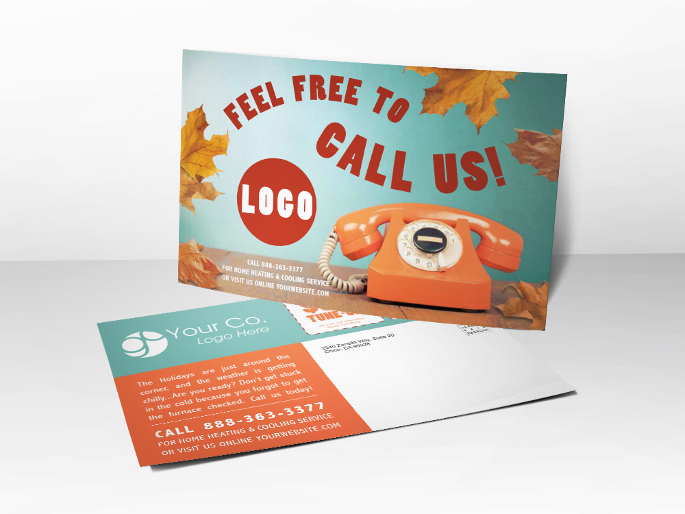 An HVAC marketing postcard with a retro look to be used for fall furnace tune-up advertising.
