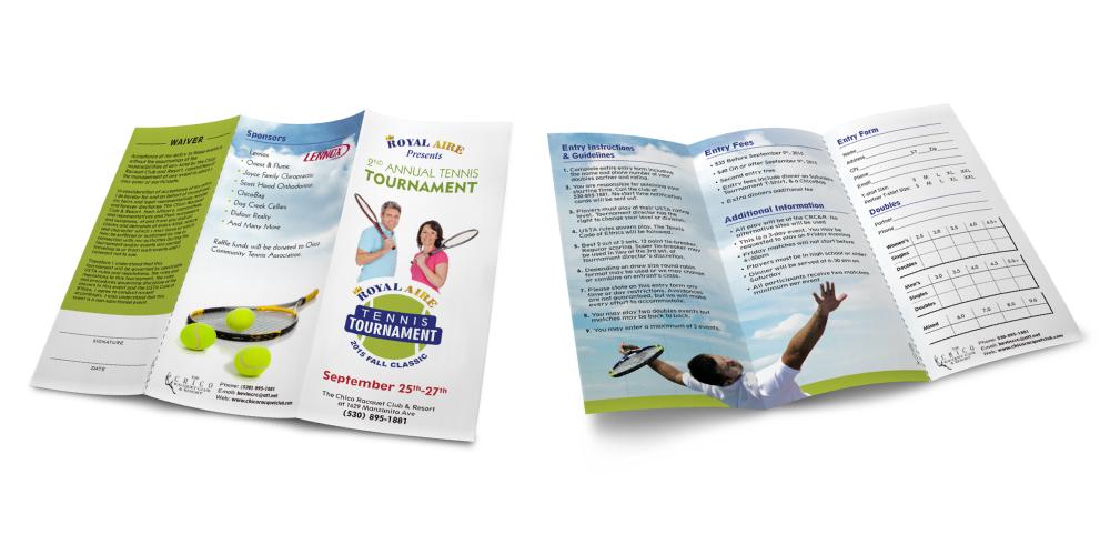 A marketing brochure custom designed for an HVAC company sponsoring a tennis tournament.