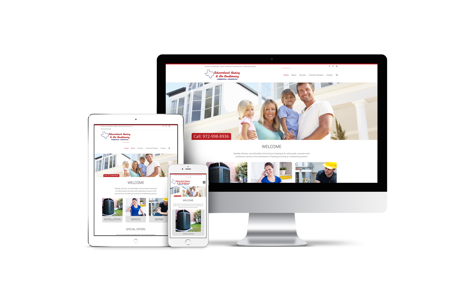 A custom designed website displayed on multiple sized screens with and HVAC company on it.