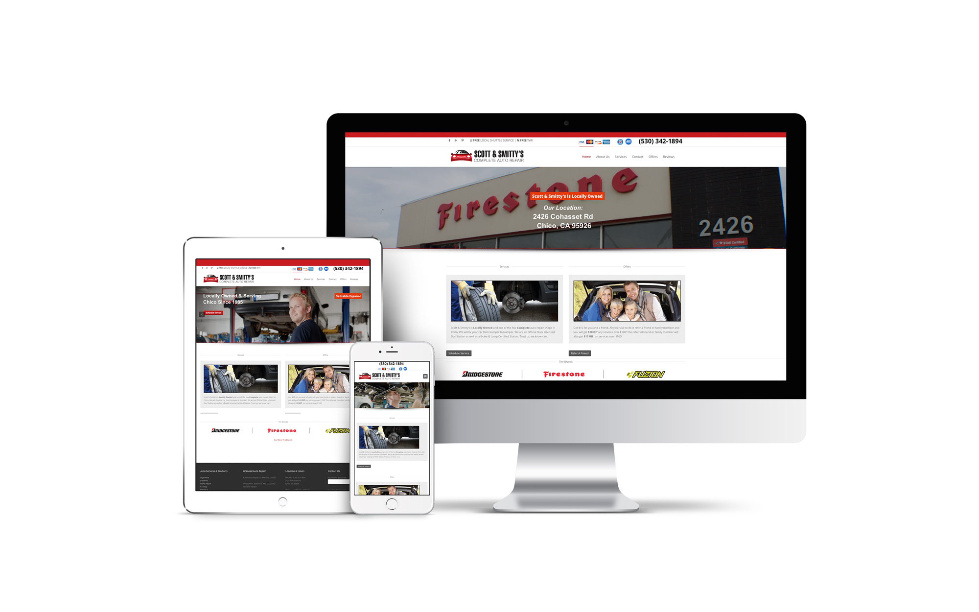 A custom designed website for an auto repair shop displayed on multiple screens.